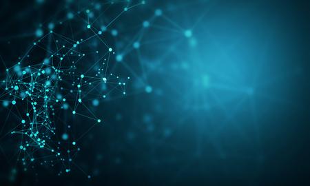 接続回線を使用した抽象技術の背景。3D レンダリング