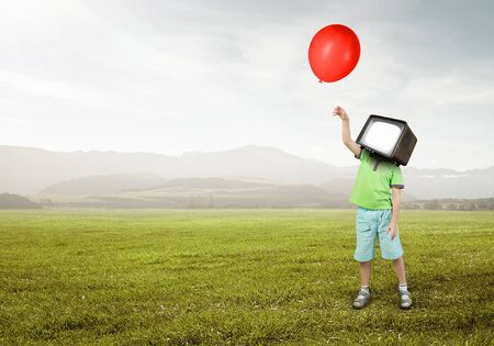 Kid boy with TV monitor for his head. Mixed media