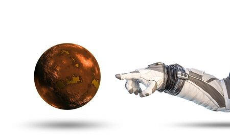 Close of astronaut robotic hand touching planet. Elements of this image furnished by NASA Stock fotó