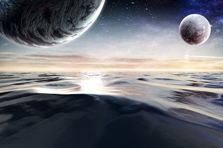 Fantasy image with space planets and sea waters