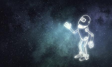 暗い背景に面白い幼稚な描画ロボット 写真素材
