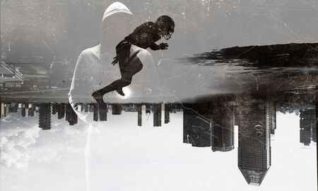 Double exposure of cityscape and rugby players. Mixed media Stok Fotoğraf - 93621880