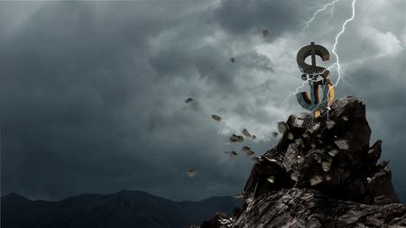 Lightning striking stone dollar sign. Mixed media