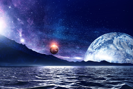 Fantasy image with space planets and sea waters. Foto de archivo