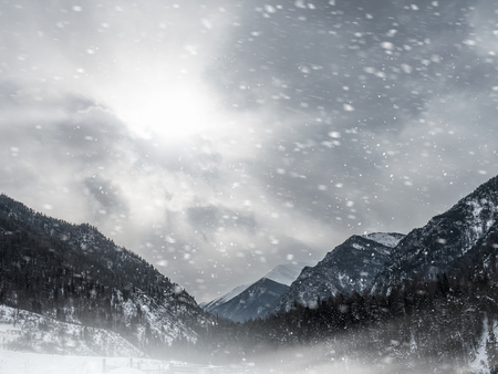 Natural landscape of snowy mountains with footpath