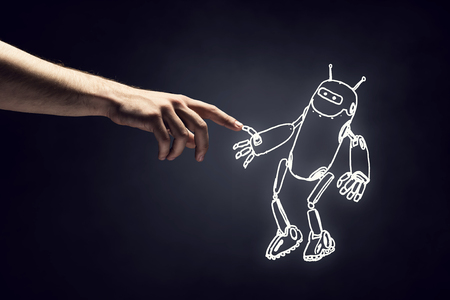 Human hand touching with finger robot sketched design Stock fotó