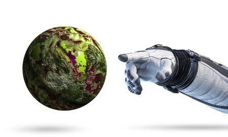 宇宙飛行士のロボット手が惑星に触れるクローズ。