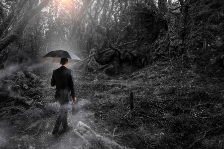 Businessman with umbrella walking alone in misty forest. Mixed media