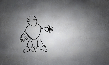 Funny childish drawn robot on concrete background