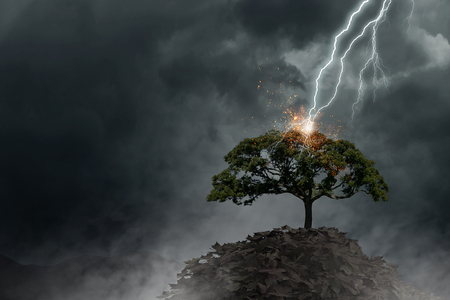 Natural landscape background with lightning striking tree