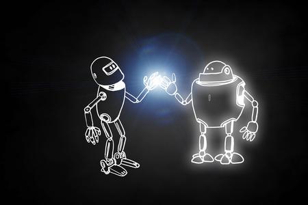 Funny childish drawn robot on dark background