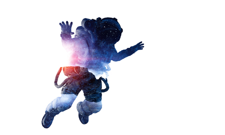 Double exposure of astronaut and space on white background. Mixed media 版權商用圖片