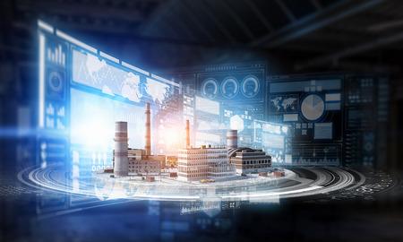 工場を備えたミニエクステリア工業モデル。混合メディア