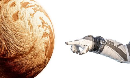 Close of astronaut robotic hand touching planet. Stok Fotoğraf