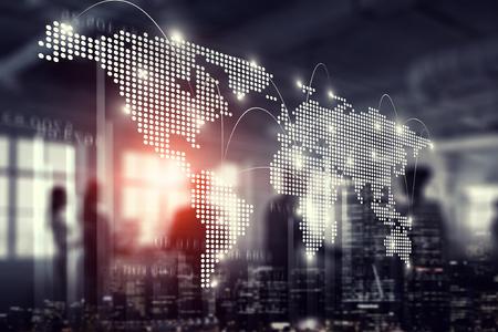 Centro de negócios moderno e mapa do mundo como conceito de rede. Renderização 3D Foto de archivo - 94470327