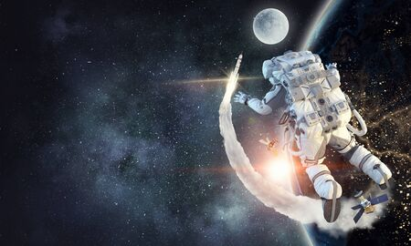 Astronaut floating in outer space.