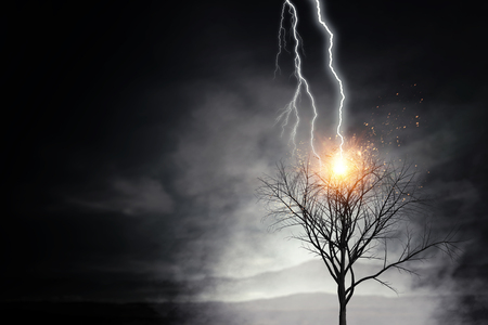Natural landscape background with lightning striking tree Stok Fotoğraf - 94462596