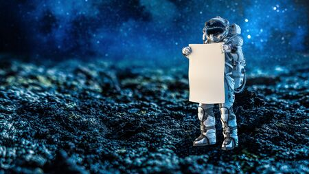 Astronaut in space holding white blank board. Mixed media