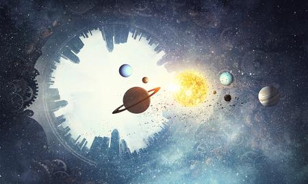 Fantasiebeeld met aardeplaneet en ruimte.