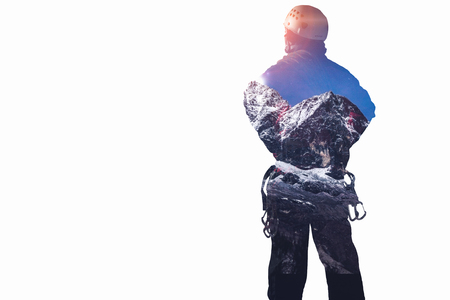 Double exposure of alpinist and mountain landscape. Mixed media