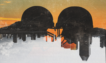 Silhouettes of two american football players confronting each other. Mixed media Standard-Bild
