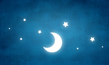 Moon and stars on blue wall background