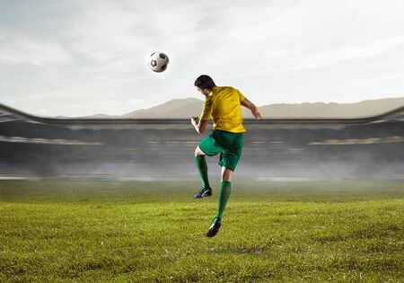 Soccer player in action. Mixed media Stok Fotoğraf