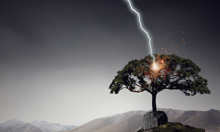 Natural landscape background with lightning striking tree Archivio Fotografico - 96298414
