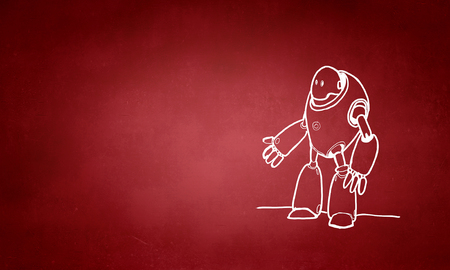 Funny childish drawn robot on red background