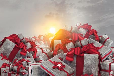 Mountain of gift boxes. Mixed media