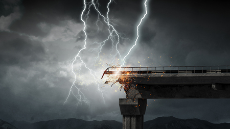 Heavy clouds and lightning striking and crashing bridge. Mixed media