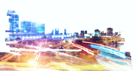 Modern night city silhoutte and blurred lights Banco de Imagens