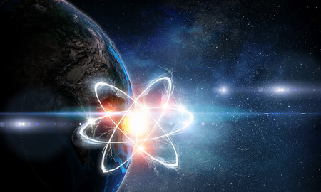 Atom molecule on space background as science concept Stock fotó