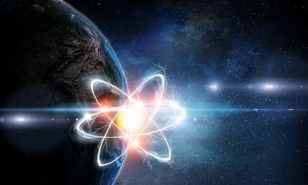 Atom molecule on space background as science concept 版權商用圖片