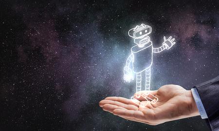 Funny sketched robot Foto de archivo - 97539914