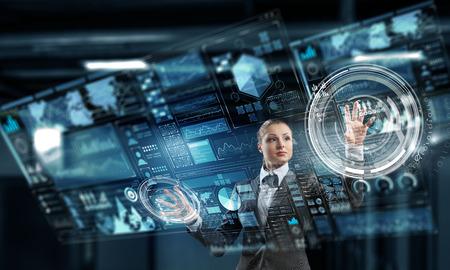 Innovative technologies in use. Mixed media Stock Photo