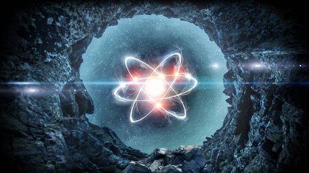 科学概念としての宇宙背景の原子分子3D レンダリング