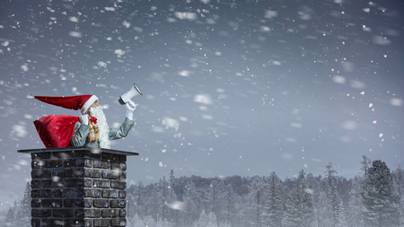 Santa man with bag in house chimney. Mixed media
