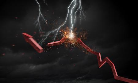 Lightning striking red growing arrow. Mixed media