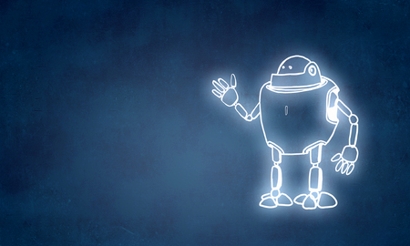 Funny childish drawn robot on blue background 版權商用圖片