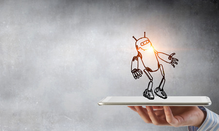 Human hand holding in palm robot sketched model on tablet Banque d'images