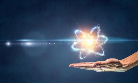 과학 개념으로 인간의 손과 원자 분자. 3d 렌더링 스톡 콘텐츠 - 97856265
