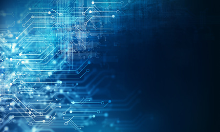 Imagen de fondo futurista con concepto de placa de circuito Foto de archivo