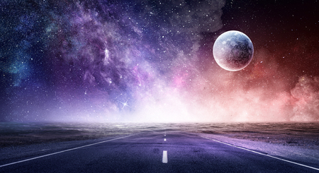 Abstract background image with space planets and natural landscape.