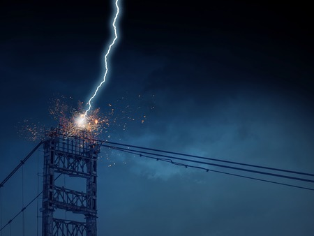High voltage lines tower and lightning striking it Reklamní fotografie