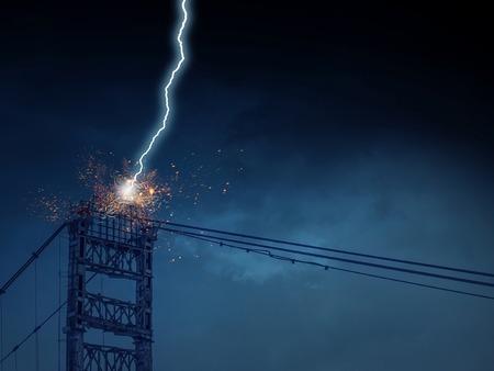High voltage lines tower and lightning striking it Banco de Imagens
