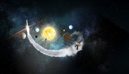 Astronomy concept with planets on dark starry background. Mixed media Banque d'images - 97569636