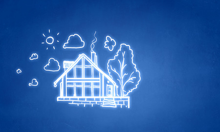 Background image with drawn buildings on blue