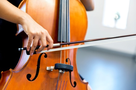 Close up of cello with bow in hands 版權商用圖片