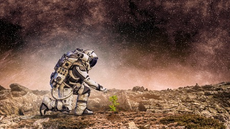 Spaceman on planet surface and green growing sprout. Mixed media